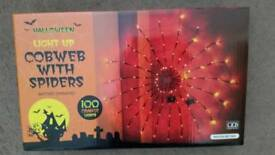 Halloween Light up Cobweb with Spiders BNIB