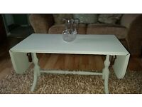 Shabby chic coffee table extendable finished in Annie Sloane paris grey paint and waxed £30