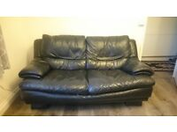 Comfy 2 seater sofa, black leather