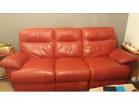 Red Leather electric reclining 3 and 2 seater sofas
