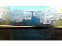 Vintage Glass Cake Stands x2