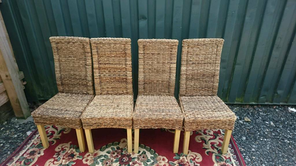 Dining chairs X 4 banana leafin Luddendenfoot, West YorkshireGumtree - Set of 4 banana leaf dining chairs in used but overall good condition just 2 chairs have some wear on the corners see close up pic, not very noticeable. Also seen these chairs painted shabby chic, so could be a project for someone. Good solid chairs...