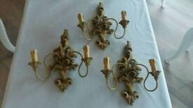 3 beautiful Cristopher Wray Wall Lights with carved detailing