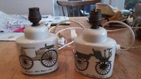 Two retro bedside lamps, bases approx 12 cm high