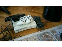 Xbox 360 with two controllers and kinect