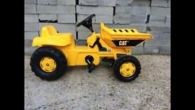 Young boys pedal tractor tipper truck ride on outdoor & garden toy
