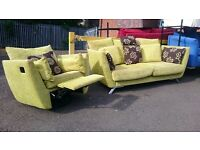 Retro Inspired 3 Seater Sofa with Recliner Armchair