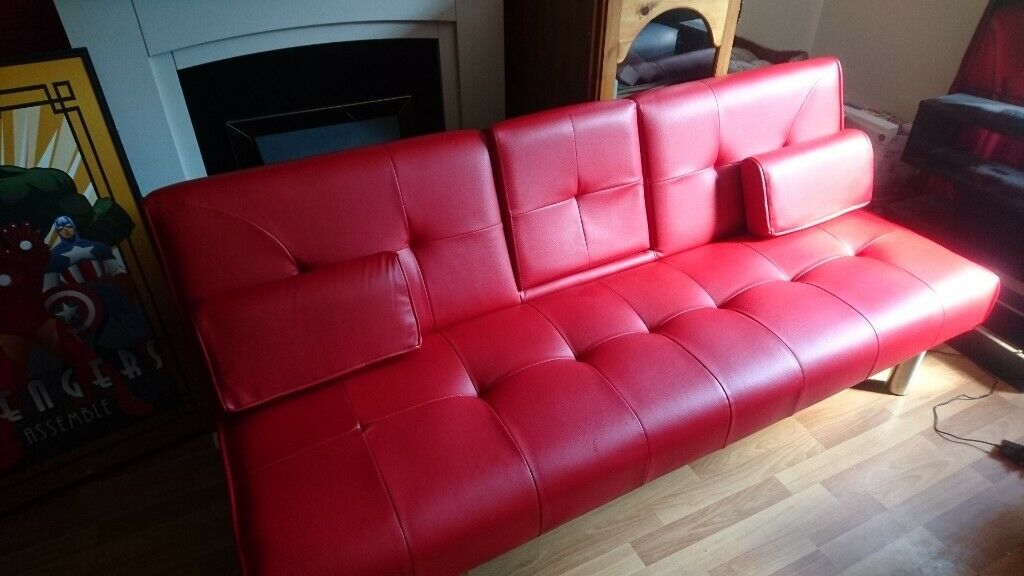 Enjoyable Bright Red Sofa Bed With Built In Bluetooth Speakers In Aberdeen Gumtree Download Free Architecture Designs Scobabritishbridgeorg
