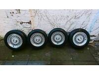 """4x Lenso BSX 15"""" Alloy wheels and tyres 5x120mm (not BBS)"""
