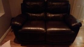 3 seater and 2 seater dark brown harveys leather recliner couch