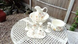 Beautiful vintage large wash bowl and jug & matching dressing table set, good condition for it's age