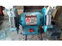 """Clarke 6"""" bench grinder used."""