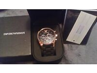 brand new mens armani watch fully boxed with certificate unwanted presant