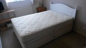 Divan double bed, with mattress and headboard - AVAILABLE FROM 4TH JUNE