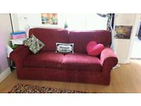 Luxurious red fabric sofa