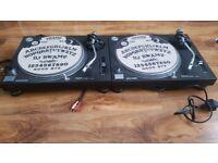 PAIR OF TECHNICS 1210 TURNTABLES SHURE WHITELABEL CARTS
