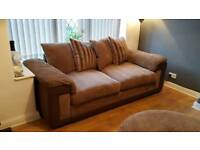 3 seater sofa and swivel chair with moon poufe