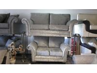 BRAND NEW SILVER CRUSHED VELVET SUITE 3 SEATER + 2 SEATER NEW !!!