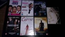 7 DVDS CARRIE.GLADIATOR BRIGET JONES ETC NEW.