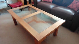 For Sale - Large Coffee table in Solid Oak and Glass. Good Clean Condition from non-smoking home.