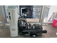 Microsoft Xbox 360 60gb inc Kinect, cables, controller