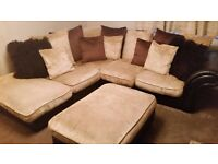 Corner sofa (DFS Design Chocolate Sand/Dark Brown Leather)