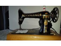 Vintage Singer Sewing Machine - serviced and ready to sew - electric with foot pedal