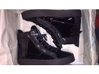 Men's giuseppe zanottis black patent leather high tops, size 8.5