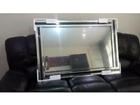 """Fiorina Black Glass Framed Rectangle Bevelled Wall Mirror 4FT x 2.66FT or in inch 48""""x 32"""" X Large"""