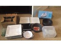 Kitchen and Baking Items plus brand new Iron