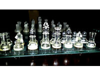 Crystal Chess Backgammon Draughts 3 in 1 in original box – 2 large 14x14 inch glass boards