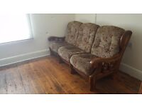 Vintage style Sofa 3 seats + armchair + recliner suite - proper wood