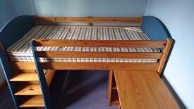 Kids cabin bed for sale inc pull out desk & bookshelf