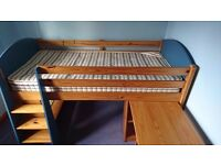 Kids cabin bed for sale inc pull out desk & bookshelf
