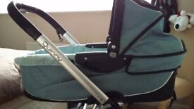 Beautiful blue quinny pram with maxi cosi car seat .