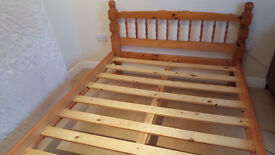 WOODEN DOUBLE BED VERY GOOD CONDITION, FOAM MATTRESS AVAILABLE £70 ONO