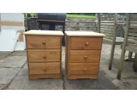 Matching pair of pine bedside cabinets