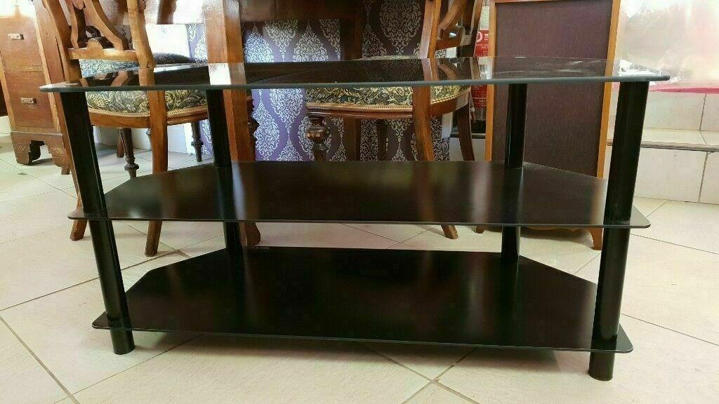 7f39f6b92 3-Tier Black Tempered Glass TV Stand