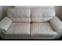 3 seater + 2 seater Cream Leather sofa's