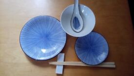 Patterned, Chinese Dinner set for four persons - Habitat