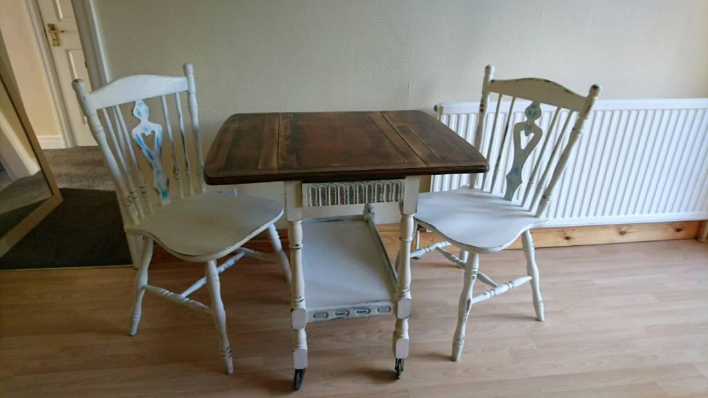 Gorgeous Small White Dining Drop Leaf Table And 2 Chairs In Tingley West Yorkshire Gumtree