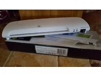 A4 Laminator 80-125 Microns. Laminates with 2 rollers. Mains Powered. Input 220 - 240. 50Hz