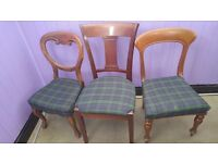 12 x Classic Vintage Queen Anne Chairs (2 + 8 + 2) with tartan fabric