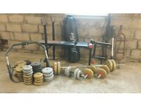 gym equiptment weights bench bars punch bag and abb trimmer
