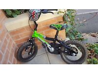 "Excellent condition Pro bike 12"" boys T-Rex green bike with stabiliser."