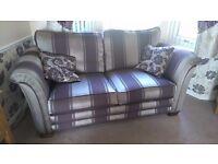 3 piece suit gold & purple (aubergine) 2 chairs + 3 seater excellent condition