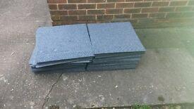 100 Used Heavy Duty light blue carpet tiles 500mm x 500mm rubber backed