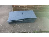 100 Used Heavy Duty light blue carpet tiles 500mm x 500mm rubber backed