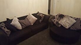 3 seater Sofa and large swivel chair with pillows