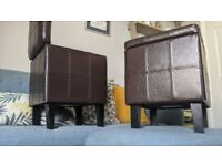 Dunelm faux leather storage cube seats ottoman with legs.